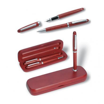 Wood pen set in box