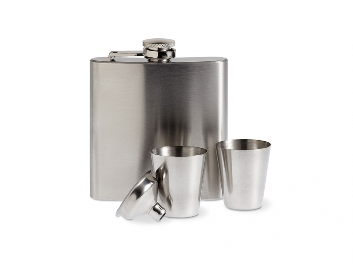 Slim hip flask w 2 cups set