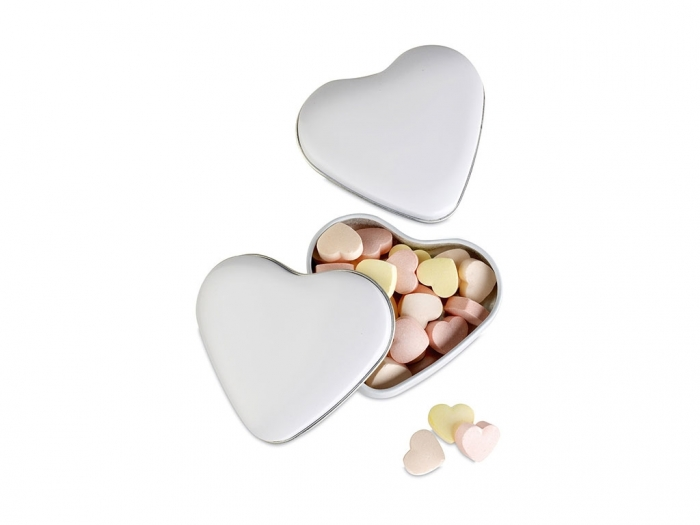 Candies in heart tin box