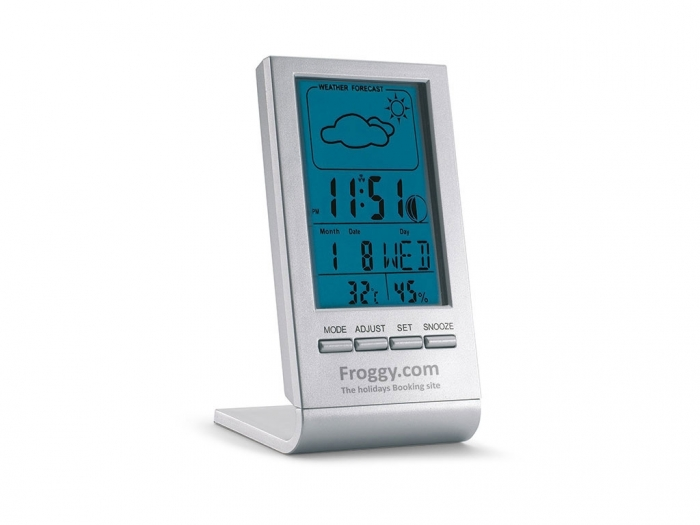 Weather station with blue display