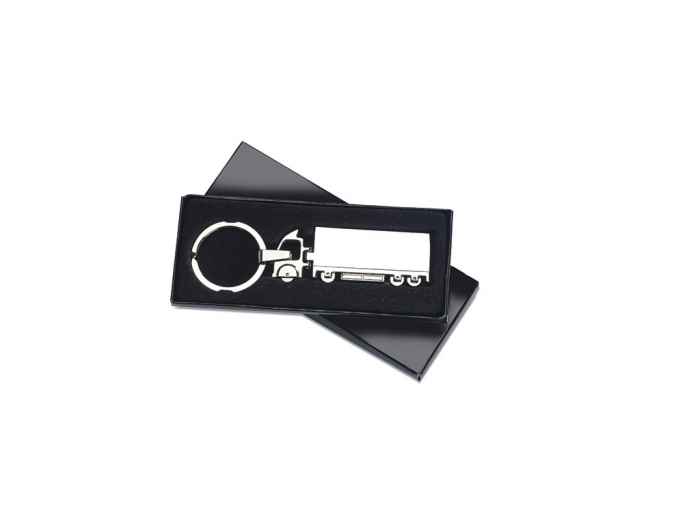 Truck shaped metal key ring