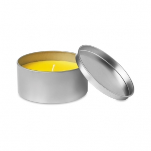 Candle in tin box with lid