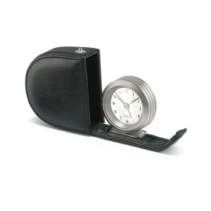 Alarm clock in leather pouch
