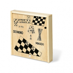 Domino, chess, drafts and sticks games