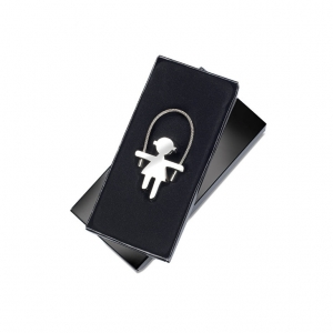 Girl shaped zinc alloy keyring