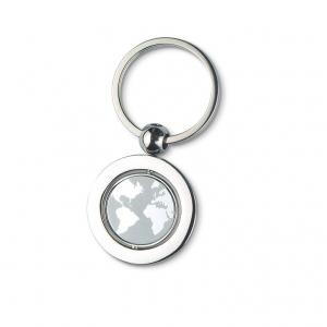 Globe metal key ring