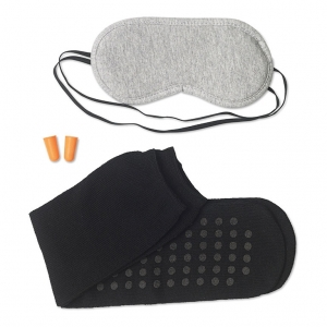 Travel set including eye mask