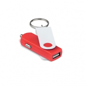 USB car charger with keyring