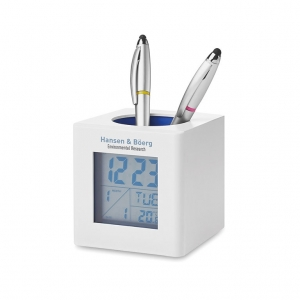 Weather station with pen holder