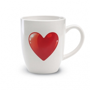 Ceramic mug with heart decoration